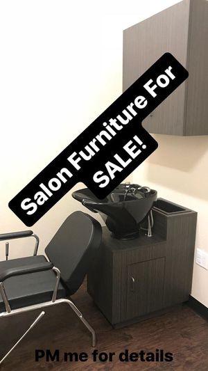 Salon hair shampoo sink bowl, chair, wall cabinet Set for Sale in Orange, CA