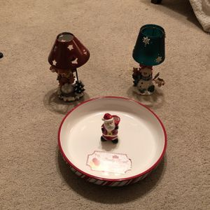 Christmas party bowl and 2 Christmas t-lite holders for Sale in Carrollton, TX