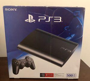 PS3 500GB Slim Black with 2 Controllers for Sale in Atlanta, GA