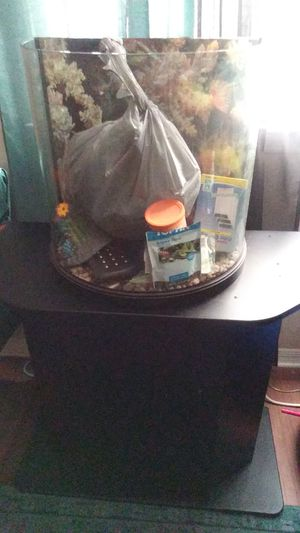 Oval fish aquarium and stand for Sale in Tampa, FL