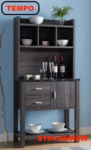 Bakers Rack/Wine Cabinet, Distressed Grey and Black for Sale in Fountain Valley, CA