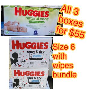 huggies size 6 diapers with wipes bundle for Sale in Oakland, CA