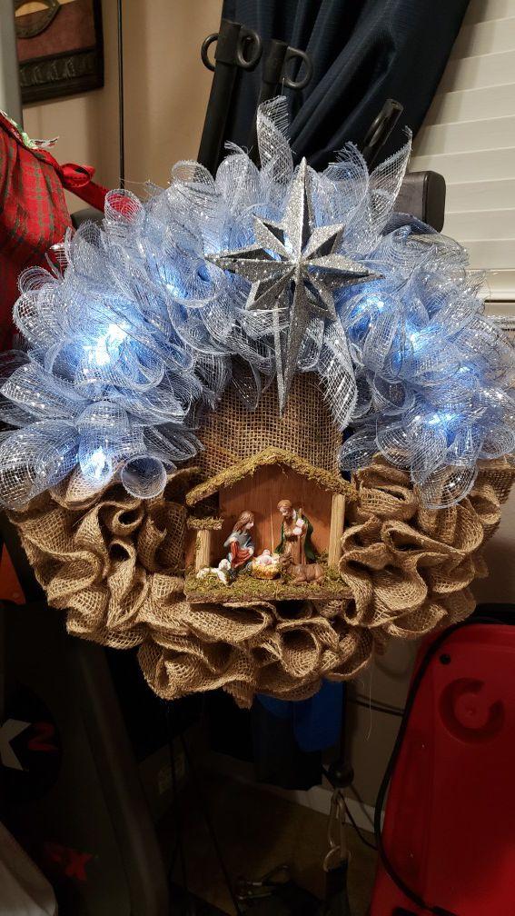 Nativity Christmas wreath.