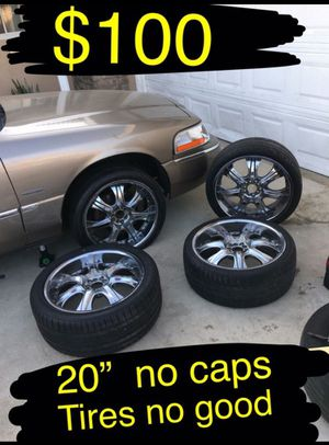 """20"""" chrome wheels. Tires no good. $90 takes them Universal 5 lug. Ford Chevy dodge Toyota. Nissan Chevy infinity for Sale in Ontario, CA"""