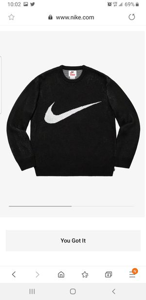 Nike + supreme Black crew neck sweater for Sale in Salem, MA