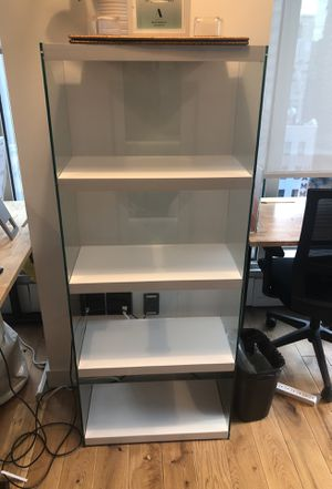 Glossy white hallow Core Tempered glass bookcase ( 3 available) for Sale in New York, NY