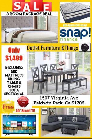 Bed,Mattress, dining Table and Chairs, sofa sectional plus Free TV for Sale in Vernon, CA