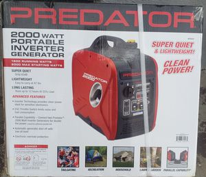 PREDATOR 2000 Watt Super Quiet Inverter Generator (Hablo espanol) for Sale in Fresno, CA