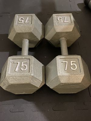 75 lbs - Dumbbell (Cast Iron Pair) for Sale in Los Angeles, CA