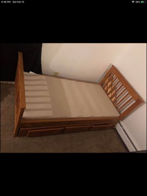 Twin Size Bed Frame with Draws and Matrices Board for Sale in Ypsilanti, MI