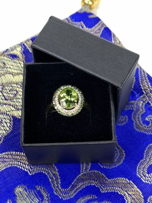 10k Gold Over 925 Sterling Silver Peridot Halo and White Zircon Ring (Sizable) for Sale in Sterling, VA