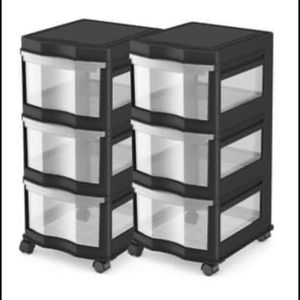 Life Story Classic 3 Shelf Storage Organizer Plastic Drawers Black 2 Pack for Sale in Houston, TX