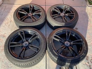 """18"""" Black Rims 5x114.3 w/ 225/45 EagleSport All Season Tires for Sale in Upland, CA"""