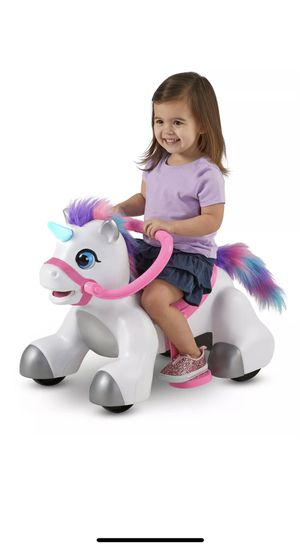 Unicorn ride on power wheels pull or rideon with extra warranty purchased for Sale in Fresno, CA