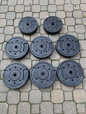 Standard one inch weider plastic weight plates - total 110lbs for Sale in Barrington, IL
