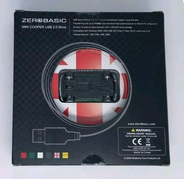 Zero Basic Mini Cooper Car Figure USB 2.0 Flash Drive Stick 4 GB Green White NEW