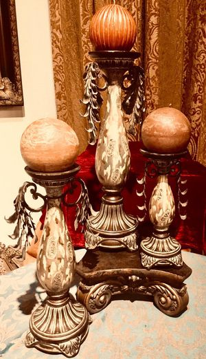 Gorgeous set of three vintage style candle holders for Sale in Sun Lakes, AZ