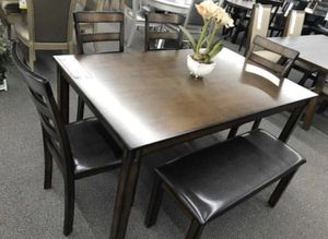 6pcs dining table set ( table + bench + 4 chairs) solid wood for Sale in Long Beach, CA