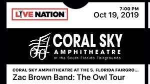 Zac brown band lawn seats - 2 tickets - oct 19 for Sale in Lake Worth, FL