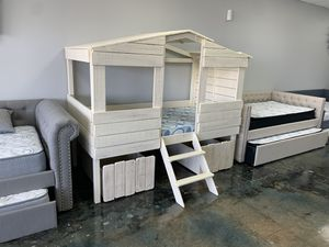 Solid wood TWIN treehouse style bunk bed with storage drawers for Sale in Charlotte, NC
