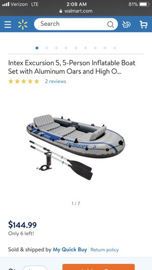 Intex Excursion 5- inflatable boat for Sale in Orlando, FL