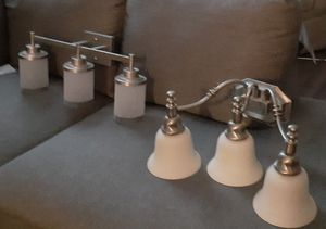 2 stainless steel bathroom light fixtures for Sale in East Point, GA