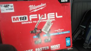 Milwaukee 18 volt hammer drill and impact set Bluetooth capable you can customize track and managing with your phone for Sale in Gulfport, MS