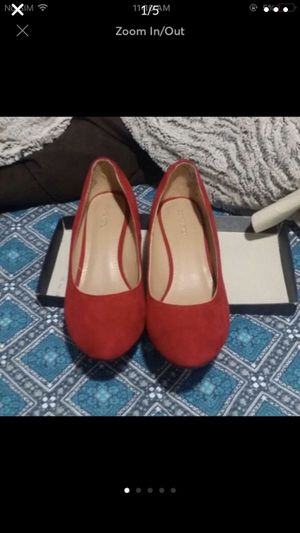 Red suede shoes wedges heels women's shoes for Sale in Silver Spring, MD