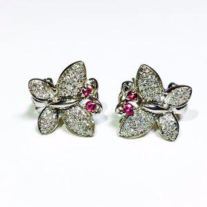 14k white gold diamond Ruby butterfly earrings for Sale in Miami, FL