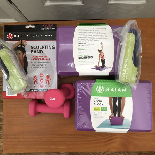Yoga - Pilates kit: Blocks, Straps, Sculpting Band, Dumbells - New