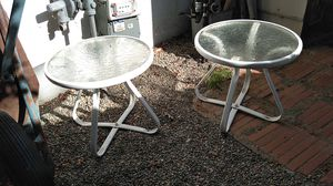 Outside patios glass coffee end tables for Sale in Rio Linda, CA