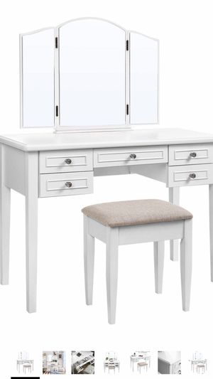 Vanity Set with Tri-Fold Mirror, Dressing Table with 5 Drawers, Desk with 1 Stool, Makeup and Cosmetics Storage, Multifunctional, Easy to Assemble, for Sale in Corona, CA