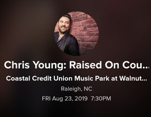 Chris Young, Jimmie Allen, Chris Jansen concert for Sale in Raleigh, NC