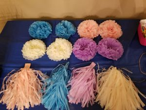 Party supplies- unicorn bags, photo booth props, paper flowers and more for Sale in Houston, TX