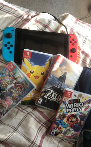 Nintendo switch, 5 games Pokémon, fifa, super smash, Zelda, Mario party. All for 450 dollars for Sale in Lewisville, TX