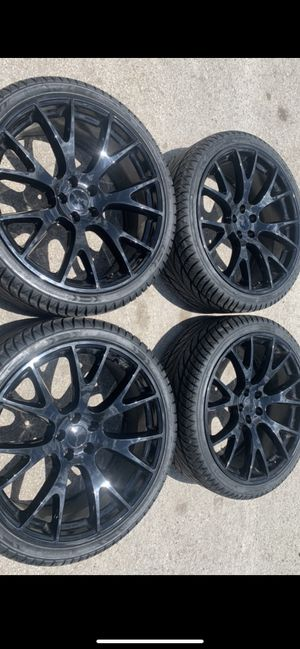 "New 22"" Black hellcat Rims and New Tires 22 Hell cat Replica Wheels 22s Dodger Charger Challenger Chrysler 300 Rines y Llantas Oem factory's factory for Sale in Dallas, TX"