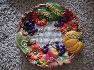 """Vintage Retired Fritz & Floyd """"Autumn Bounty"""" 9"""" Plate Dated 1997 for Sale in Edgewood, WA"""