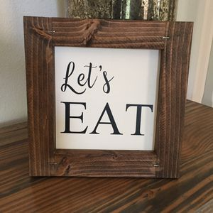 """Let's Eat farmhouse sign framed 9""""x9"""" Thanksgiving decor for Sale in Costa Mesa, CA"""