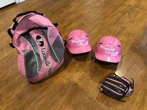 Softball bag and helmets and a lefty glove for Sale in San Diego, CA