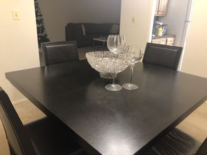 Contemporary Black Wooden Table with Black Leather Chairs for Sale in Baltimore, MD
