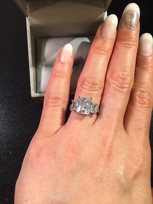 Stamped 925 Sterling Triple Diamond Ring for Sale in Dallas, TX