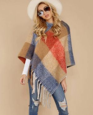 New Womens Fringed Plaid Poncho Pull Over Sweater for Sale in Saginaw, MI