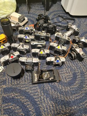 Assorted film cameras and lences for Sale in Portland, OR
