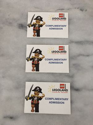 Legoland Florida Park And Water Park Tickets (3)- for Sale in Franklin, TN