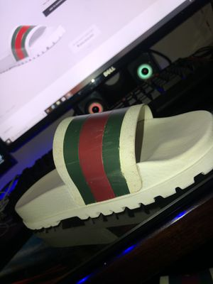 White Gucci web slide sandals for Sale in Kenneth City, FL
