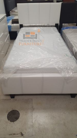 Brand New Twin Size White Leather Platform Bed Frame ONLY for Sale in Silver Spring, MD