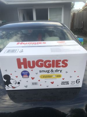 HUGGIES SNUGGLERS 124 DIAPERS SIZE 6 LARGE BOX for Sale in Tacoma, WA