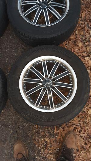 4 Size 16 Universal lug patterns Rims Black/Chrome for Sale in Myrtle Beach, SC