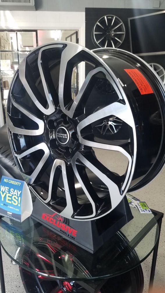 22x9 5x120 et35 range rover land rove black machine wheels rims