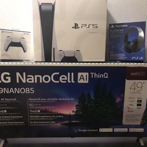 Brand New Playstation 5 with the LG49 2.1 HDMI NanoCell Real 4K. Platinum Headset & extra controller for Sale in Poinciana, FL